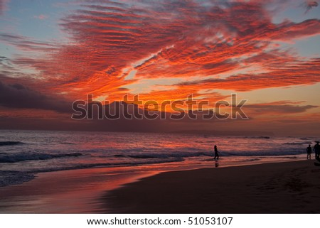 Kekaha Beach sunset - Kauai, Hawaii - stock photo