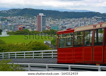 Kelburn Cable Car above the city of  Wellington, New Zealand. - stock photo