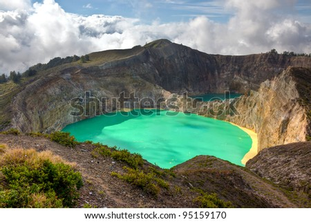 Kelimutu Volacano. Flores, Indonesia - stock photo