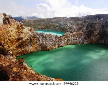 Kelimutu: volcanic lakes - stock photo