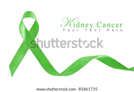 Kelly Green Ribbon a Symbol of Kidney Cancer with copy space - stock photo