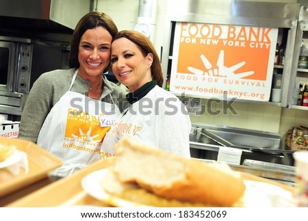 Kelly Killoren Bensimmon, Jill Zarin attending Bravo's Real Housewives of New York City Serve Dinner to New Yorkers in Need, The Food Bank's Community Kitchen & Pantry of West Harlem, Dec 16, 2009 - stock photo