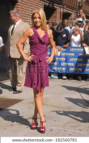 Kelly Ripa, in a Jill Stuart dress and YSL Tribute sandals, at talk show appearance for Kelly Ripa at The Late Show with David Letterman, Ed Sullivan Theater, New York, August 05, 2008