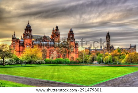 Kelvingrove Museum and Glasgow University - Scotland - stock photo