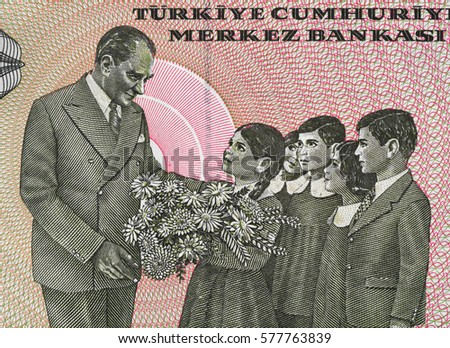 Kemal Ataturk and a school children on Turkish lira banknote close up macro, first President of Turkey, money closeup
