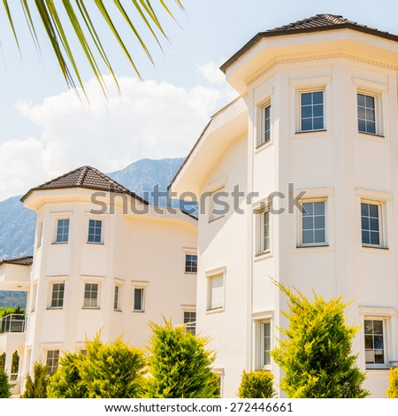 KEMER, TURKEY - APR 15, 2015: Touristic hotel in Kemer, Turkey. Kemer is a popular touristic destination on the Mediterranean sea coast
