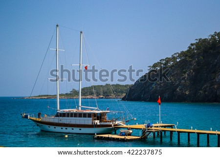 Kemer, Turkey - May 05, 2011: Yacht on berth in Kemer