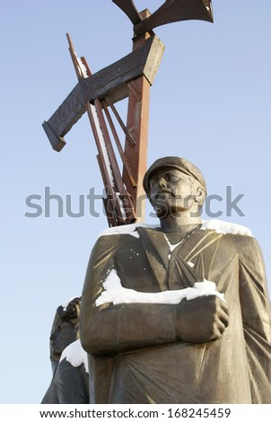 KEMEROVO, RUSSIA - DECEMBER 29, 2010. Monument to workers of home front in Kemerovo city, capital of Kemerovskaya region, Siberia, Russia