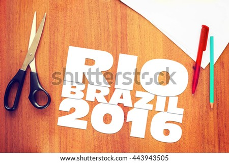 KEMEROVO, RUSSIA - JUNE, 25, 2016. Paper scraps about Olympic Games in Brazil 2016. Abstract conceptual image - stock photo