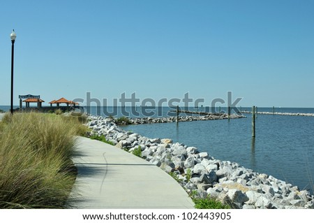 Ken Combs Pier in Bilox, Mississippi, at the edge of the Gulf of Mexico - stock photo