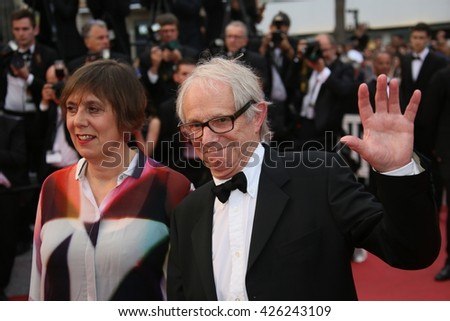Ken Loach, British producer Rebecca O'Brien  attend the Closing Ceremony of the 69th annual Cannes Film Festival at the Palais des Festivals on May 22, 2016 in Cannes, France. - stock photo