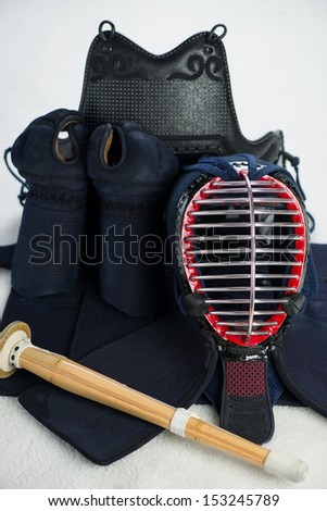 Kendo armor and shinai, close-up, vertical shot - stock photo