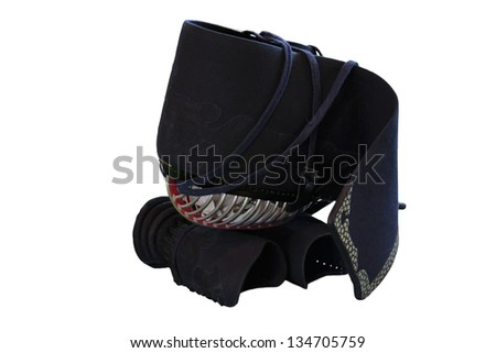 Kendo equipment - MEN (head protector) and KOTE (arm protector) with clipping path - stock photo