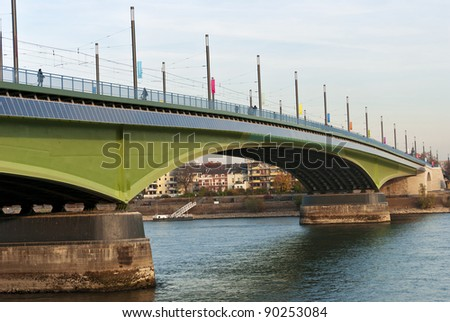 Kennedy Bridge (German: Kennedybr?cke) after the reconstruction, middle of Bonn's three Rhine bridges, connecting  the city center of Bonn with the town center of Beuel - stock photo