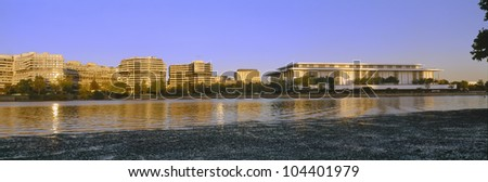 Kennedy Center and Watergate Hotel across Potomac River, Washington DC - stock photo