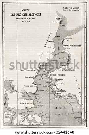 Kennedy channel old map. Created by Erhard, published on Le Tour du Monde, Paris, 1860 - stock photo