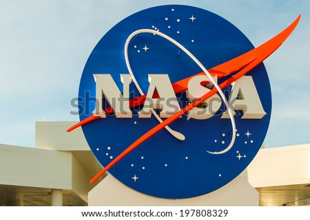 KENNEDY SPACE CENTER, CAPE CANAVERAL, FLORIDA, USA - May 3, 2013 - NASA sign at the entrance of the Kennedy Space Center in Cape Canaveral, Florida - stock photo