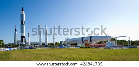 KENNEDY SPACE CENTER, FLORIDA, USA - APRIL 27, 2016: Several rockets are exhibited in rocket garden in the visitor complex of Kennedy Space Center near Cape Canaveral in Florida - stock photo