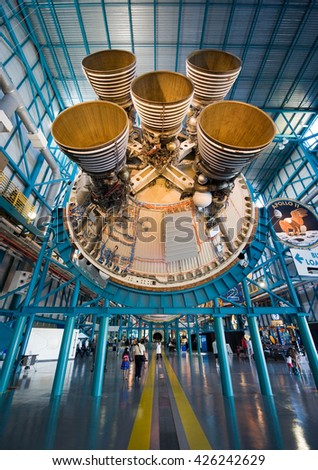 KENNEDY SPACE CENTER, FLORIDA, USA - APRIL 27, 2016: The engines of the second stage of the Saturn 5 rocket which is exhibited at the visitor complex of Kennedy Space Center - stock photo