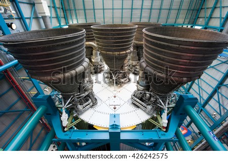 KENNEDY SPACE CENTER, FLORIDA, USA - APRIL 27, 2016: The five engines of the Saturn 5 rocket which is exhibited at the visitor complex of Kennedy Space Center - stock photo