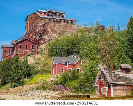 Kennicott, Alaska, United States- August 4, 2009: Ghost town Kennicott, Wrangell-St. Elias National Park. This abandoned copper mining camp is a National Historic Landmark District. - stock photo