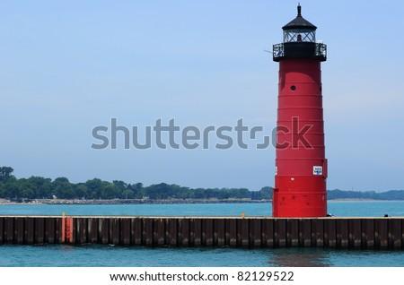 Kenosha North Pier (or Pierhead) Lighthouse Located on Lake Michigan in Wisconsin - stock photo
