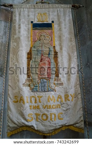 Kent, England - 18 June 2016. Interior of the St Mary The Virgin Stone Parish Church in Dartford