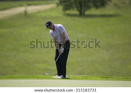 KENT ENGLAND, 29 MAY 2009. Fran����ois DELAMONTAGNE (FRA) playing in the second round of the European Tour European Open golf tournament.