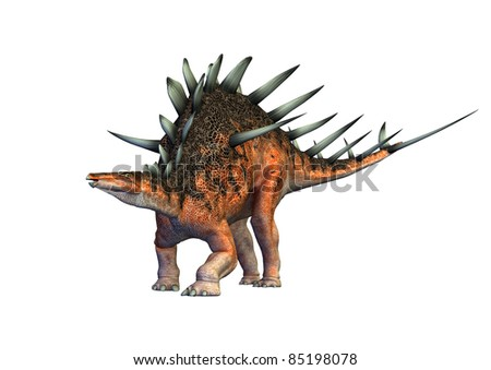 Kentrosaurus dinosaur protecting defending. Genus of stegosaurid dinosaur from the Late Jurassic of Tanzania. Smaller in size than Stegosaurus. Isolated white background. Clip art cutout illustration - stock photo