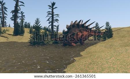 kentrosaurus walking in water - stock photo
