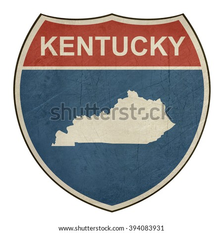 Kentucky American interstate highway road shield isolated on a white background. - stock photo
