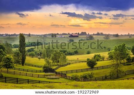 Kentucky country evening - stock photo