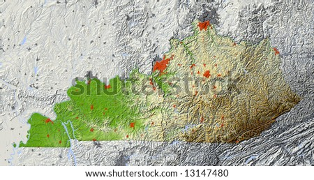 Kentucky. Shaded relief map.  Shows major urban areas and rivers, surrounding territory greyed out. Colored according to relative terrain height. Clipping path for the state area included. - stock photo