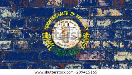 Kentucky state flag of America on brick wall