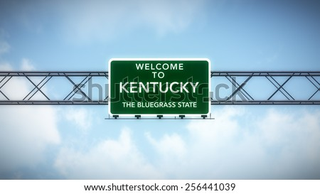 Kentucky USA State Welcome to Highway Road Sign 3D Illustration