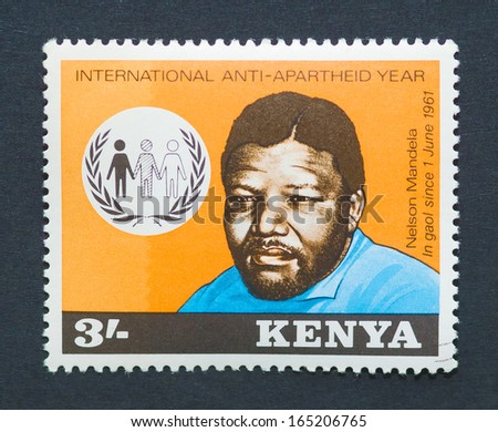 KENYA - CIRCA 1978: postage stamp printed in Kenya showing an image of Nobel Peace prize winner Nelson Mandela, circa 1978.   - stock photo