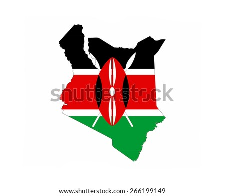 kenya country flag map shape national symbol - stock photo