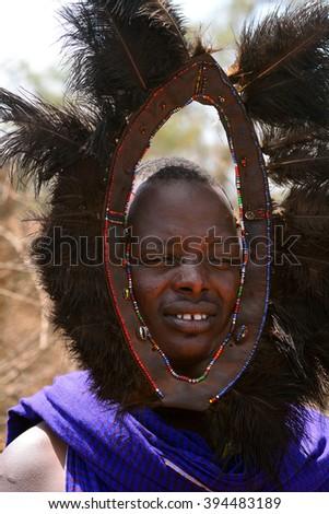 KENYA - FEBRUARY 23 : Maasai man on 23 February 2016 in Kenya. The Maasai are an indigenous tribe of Kenya and Tanzania. - stock photo