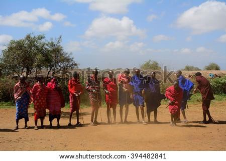 KENYA - FEBRUARY 23 : Maasai men at 23 February 2016 in Kenya. The Maasai are an indigenous tribe of Kenya and Tanzania. - stock photo
