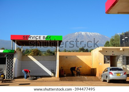 KENYA - FEBRUARY 24 : Petrols station in front of the Kilimanjaro at 24 February 2016 in Kenya. There are new roads built around Kilimanjaro, so new petrol stations are needed as well. - stock photo