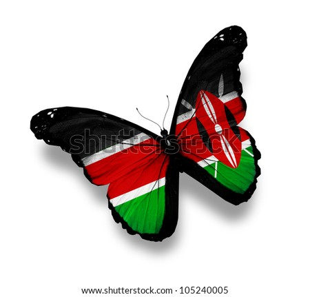 Kenya flag butterfly, isolated on white - stock photo