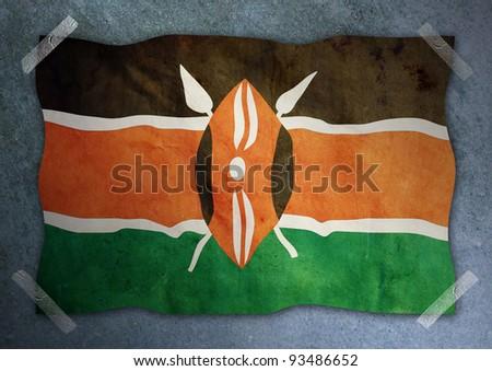 Kenya flag on cement wall - stock photo