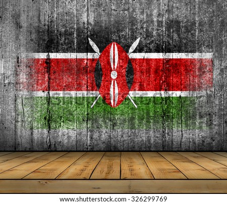 Kenya flag painted on background texture gray concrete with wooden floor - stock photo