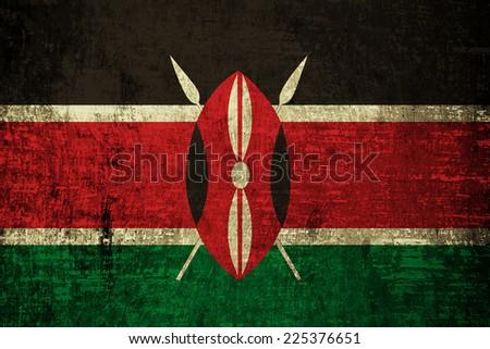 Kenya flag painted on wood background  - stock photo