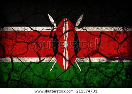 Kenya flag pattern on the crack soil texture ,retro vintage style - stock photo