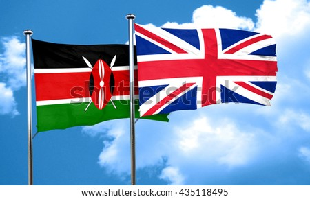 Kenya flag with Great Britain flag, 3D rendering  - stock photo