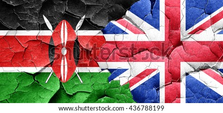 Kenya flag with Great Britain flag on a grunge cracked wall - stock photo