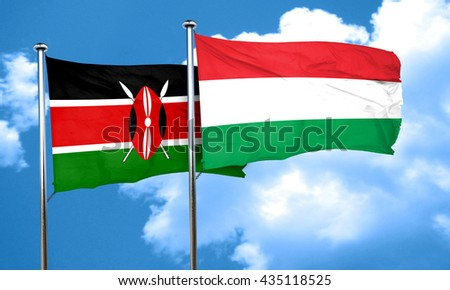 Kenya flag with Hungary flag, 3D rendering