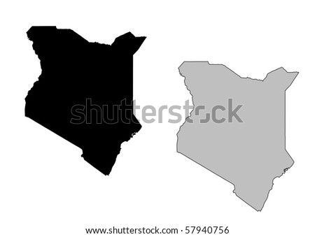 Kenya map. Black and white. Mercator projection. - stock photo