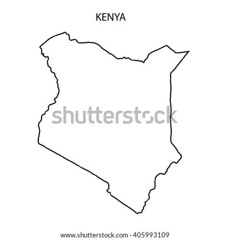 map black outline kenya stock vector 518040034 - shutterstock
